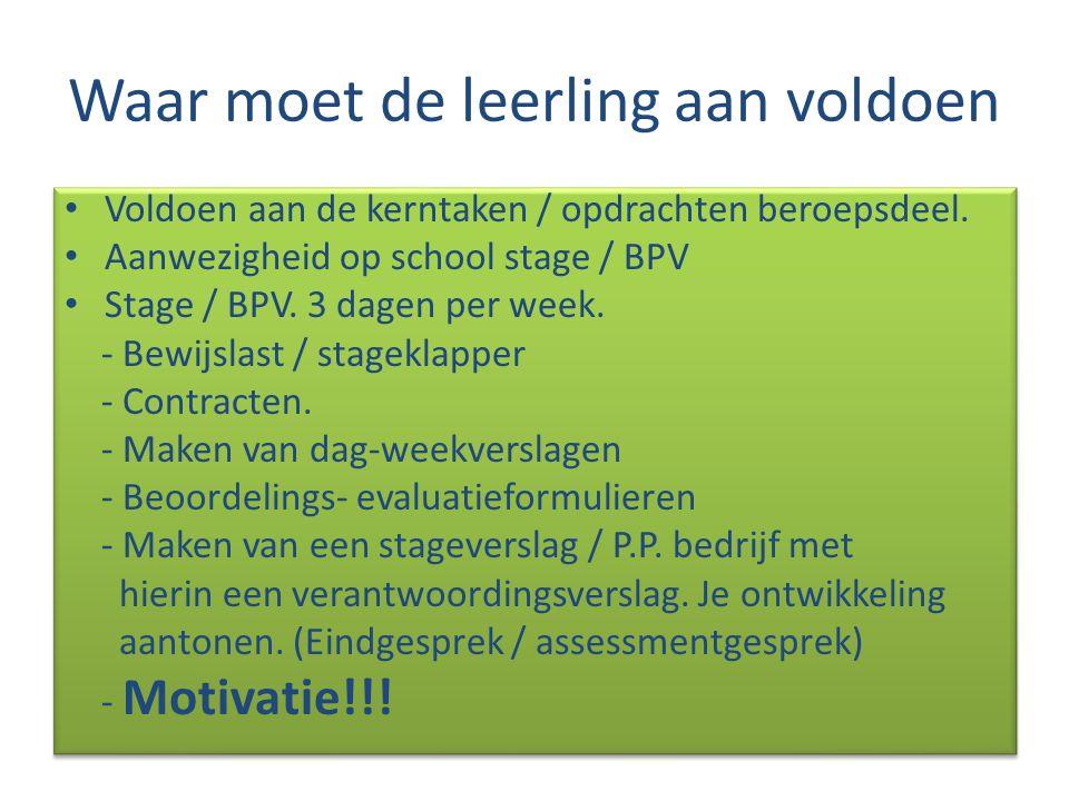 Waar moet de leerling aan voldoen Voldoen aan de kerntaken / opdrachten beroepsdeel. Aanwezigheid op school stage / BPV Stage / BPV. 3 dagen per week.