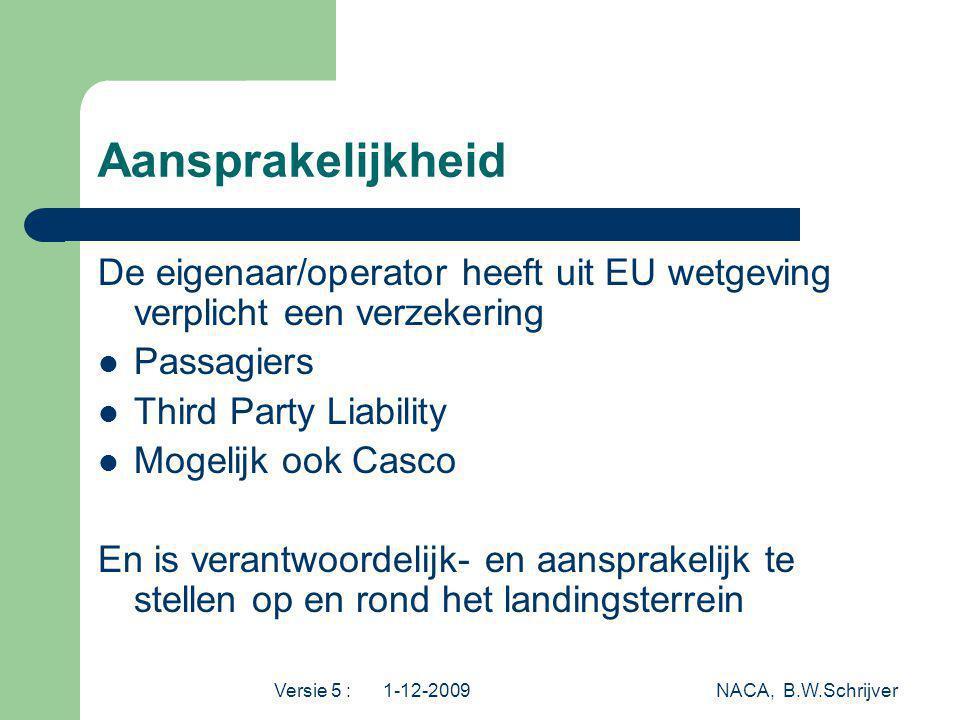 Versie 5 : 1-12-2009 NACA, B.W.Schrijver Aansprakelijkheid De eigenaar/operator heeft uit EU wetgeving verplicht een verzekering Passagiers Third Part