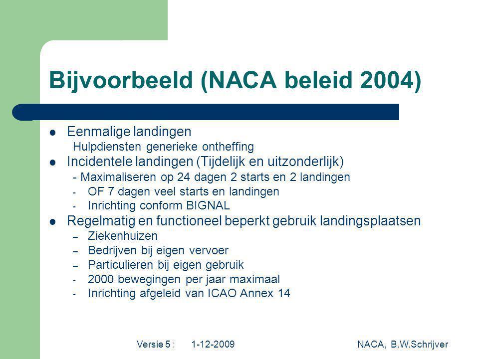 Versie 5 : 1-12-2009 NACA, B.W.Schrijver Bijvoorbeeld (NACA beleid 2004) Eenmalige landingen Hulpdiensten generieke ontheffing Incidentele landingen (