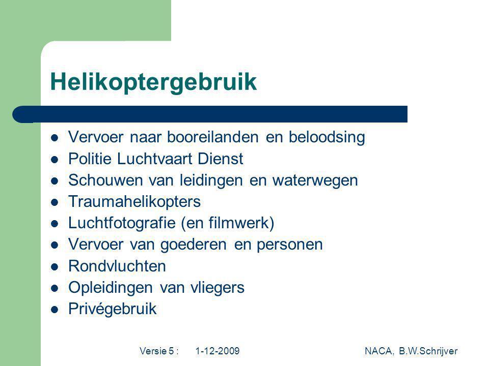 Versie 5 : 1-12-2009 NACA, B.W.Schrijver Helikoptergebruik Vervoer naar booreilanden en beloodsing Politie Luchtvaart Dienst Schouwen van leidingen en