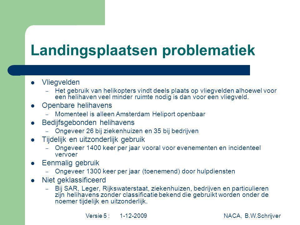 Versie 5 : 1-12-2009 NACA, B.W.Schrijver Landingsplaatsen problematiek Vliegvelden – Het gebruik van helikopters vindt deels plaats op vliegvelden alh