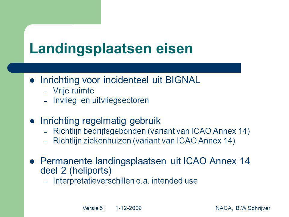 Versie 5 : 1-12-2009 NACA, B.W.Schrijver Landingsplaatsen eisen Inrichting voor incidenteel uit BIGNAL – Vrije ruimte – Invlieg- en uitvliegsectoren I