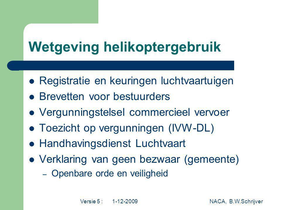 Versie 5 : 1-12-2009 NACA, B.W.Schrijver Wetgeving helikoptergebruik Registratie en keuringen luchtvaartuigen Brevetten voor bestuurders Vergunningste