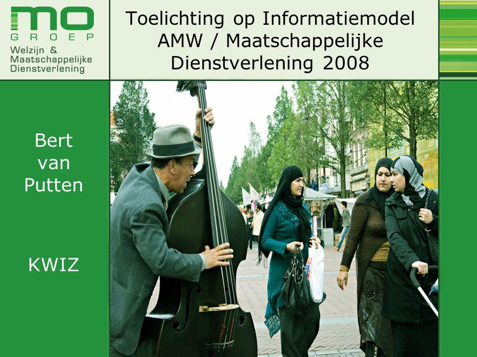 Toelichting op Informatiemodel AMW / Maatschappelijke Dienstverlening 2008 Bert van Putten KWIZ