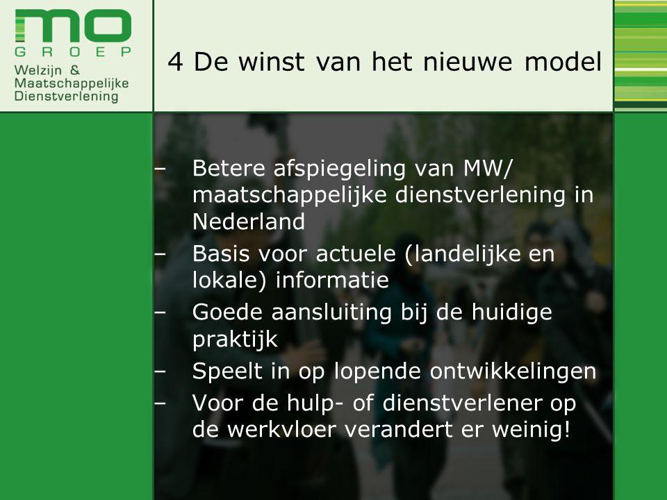 –Betere afspiegeling van MW/ maatschappelijke dienstverlening in Nederland –Basis voor actuele (landelijke en lokale) informatie –Goede aansluiting bij de huidige praktijk –Speelt in op lopende ontwikkelingen –Voor de hulp- of dienstverlener op de werkvloer verandert er weinig.