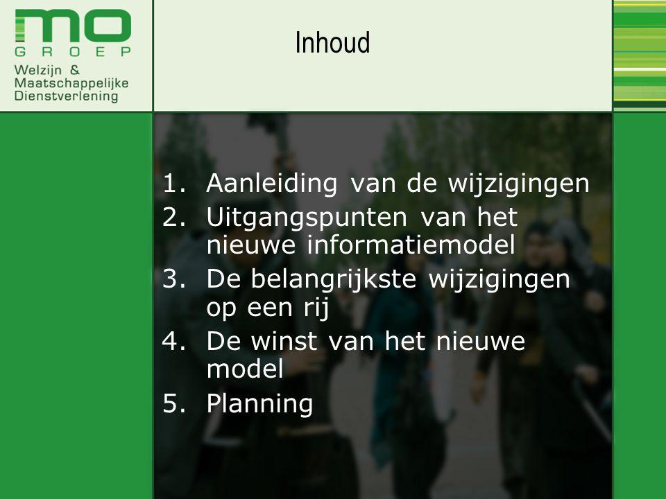 1.Aanleiding van de wijzigingen 2.Uitgangspunten van het nieuwe informatiemodel 3.De belangrijkste wijzigingen op een rij 4.De winst van het nieuwe model 5.Planning Inhoud