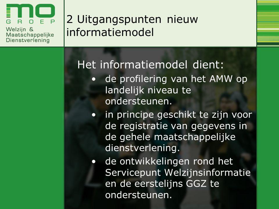 Het informatiemodel dient: de profilering van het AMW op landelijk niveau te ondersteunen.