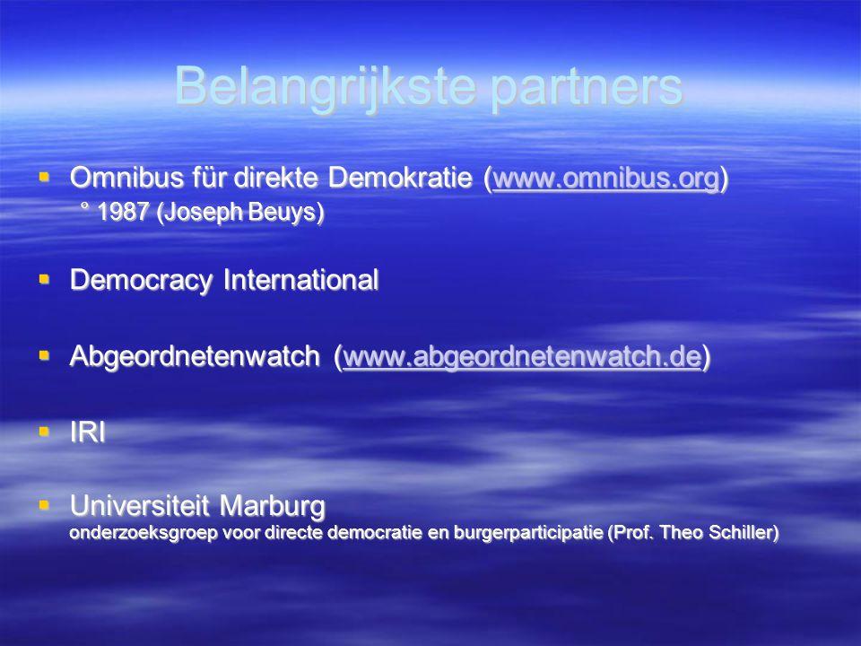 Belangrijkste partners  Omnibus für direkte Demokratie (www.omnibus.org) www.omnibus.org ° 1987 (Joseph Beuys)  Democracy International  Abgeordnetenwatch (www.abgeordnetenwatch.de) www.abgeordnetenwatch.de  IRI  Universiteit Marburg onderzoeksgroep voor directe democratie en burgerparticipatie (Prof.