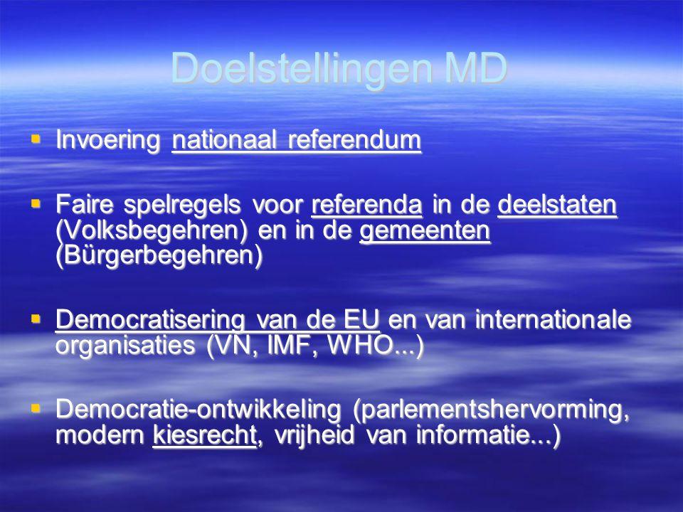 Doelstellingen MD  Invoering nationaal referendum  Faire spelregels voor referenda in de deelstaten (Volksbegehren) en in de gemeenten (Bürgerbegehren)  Democratisering van de EU en van internationale organisaties (VN, IMF, WHO...)  Democratie-ontwikkeling (parlementshervorming, modern kiesrecht, vrijheid van informatie...)