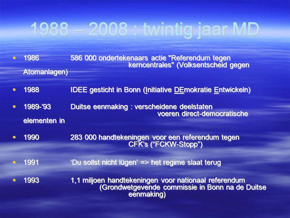 1988 – 2008 : twintig jaar MD  1986 586 000 ondertekenaars actie Referendum tegen kerncentrales (Volksentscheid gegen Atomanlagen)  1988IDEE gesticht in Bonn (Initiative DEmokratie Entwickeln)  1989-'93 Duitse eenmaking : verscheidene deelstaten voeren direct-democratische elementen in  1990283 000 handtekeningen voor een referendum tegen CFK's ( FCKW-Stopp )  1991'Du sollst nicht lügen' => het regime slaat terug  19931,1 miljoen handtekeningen voor nationaal referendum (Grondwetgevende commissie in Bonn na de Duitse eenmaking)