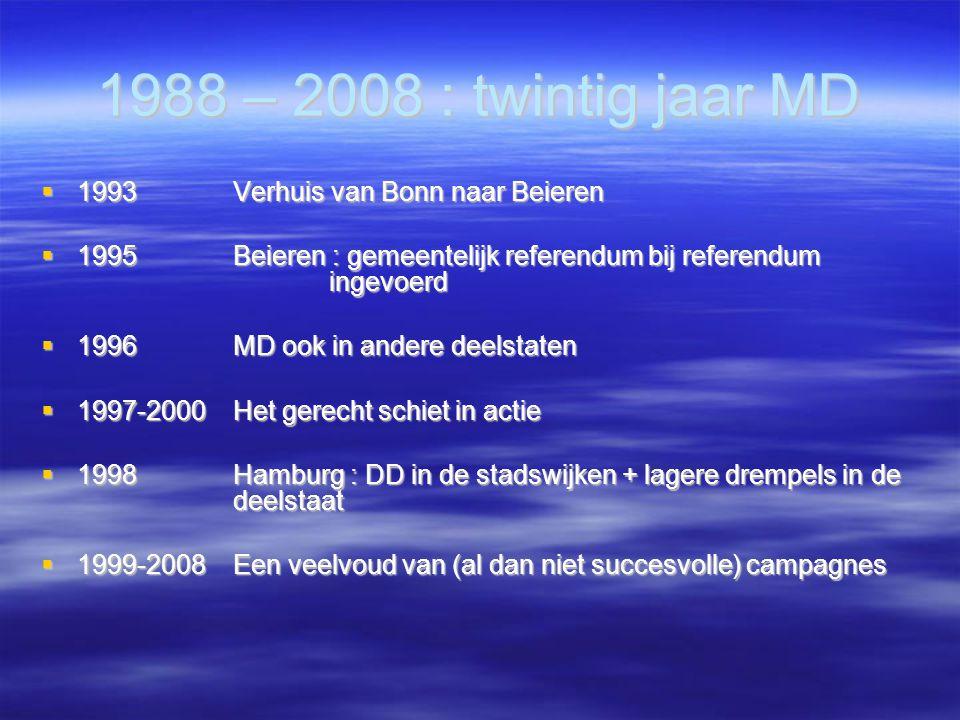 1988 – 2008 : twintig jaar MD  1993Verhuis van Bonn naar Beieren  1995Beieren : gemeentelijk referendum bij referendum ingevoerd  1996MD ook in andere deelstaten  1997-2000Het gerecht schiet in actie  1998Hamburg : DD in de stadswijken + lagere drempels in de deelstaat  1999-2008Een veelvoud van (al dan niet succesvolle) campagnes