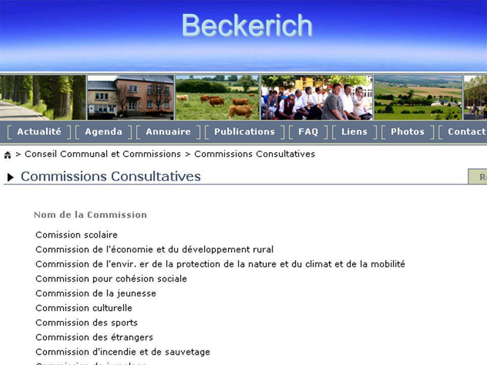 Beckerich  Beckerich is een dorp in het Groothertogdom Luxemburg.