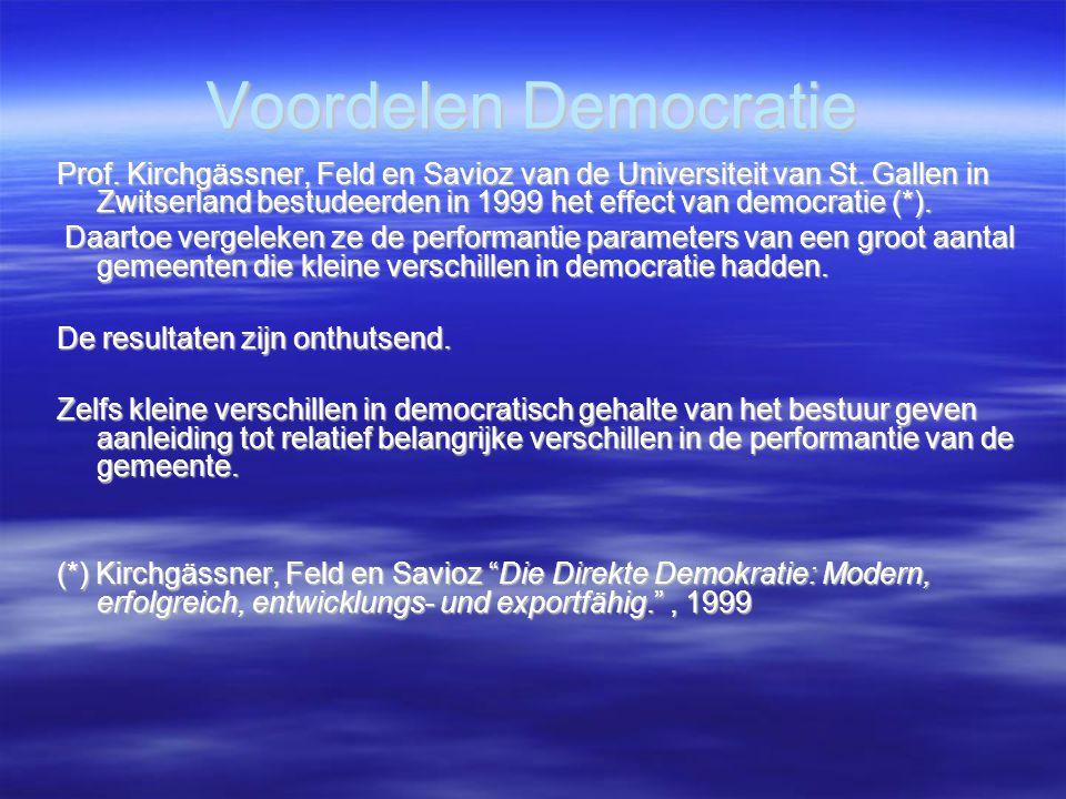 Voordelen Democratie Prof. Kirchgässner, Feld en Savioz van de Universiteit van St. Gallen in Zwitserland bestudeerden in 1999 het effect van democrat