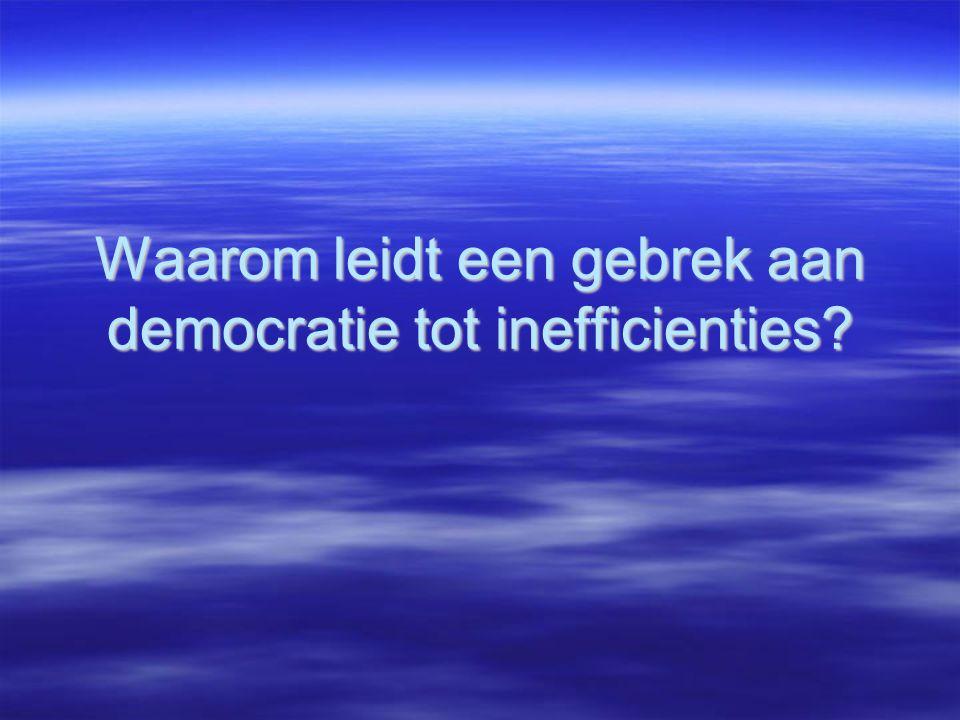 Waarom leidt een gebrek aan democratie tot inefficienties?
