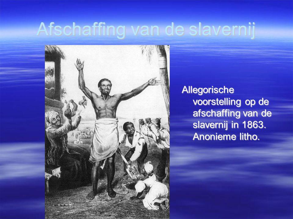 Afschaffing van de slavernij Allegorische voorstelling op de afschaffing van de slavernij in 1863. Anonieme litho. Allegorische voorstelling op de afs