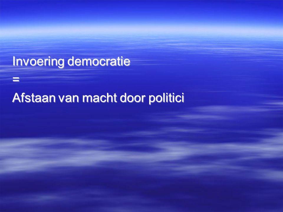 Invoering democratie = Afstaan van macht door politici