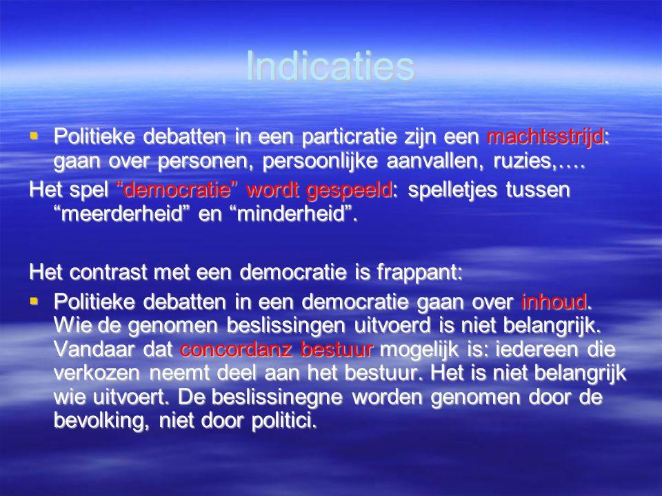 """Indicaties  Politieke debatten in een particratie zijn een machtsstrijd: gaan over personen, persoonlijke aanvallen, ruzies,…. Het spel """"democratie"""""""