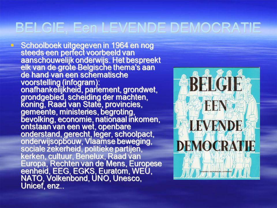 BELGIE, Een LEVENDE DEMOCRATIE  Schoolboek uitgegeven in 1964 en nog steeds een perfect voorbeeld van aanschouwelijk onderwijs. Het bespreekt elk van