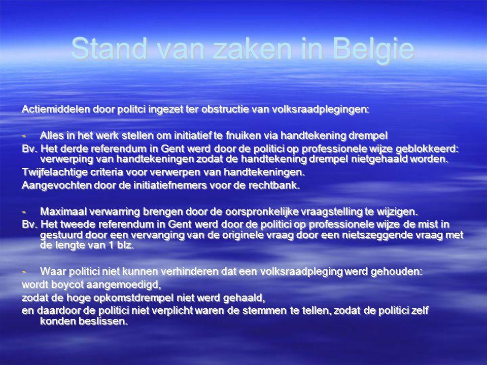 Stand van zaken in Belgie Actiemiddelen door politci ingezet ter obstructie van volksraadplegingen: -Alles in het werk stellen om initiatief te fnuiken via handtekening drempel Bv.