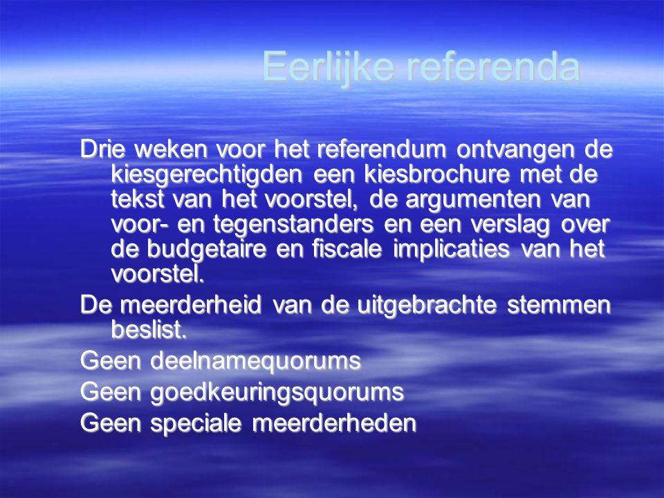 Eerlijke referenda Drie weken voor het referendum ontvangen de kiesgerechtigden een kiesbrochure met de tekst van het voorstel, de argumenten van voor