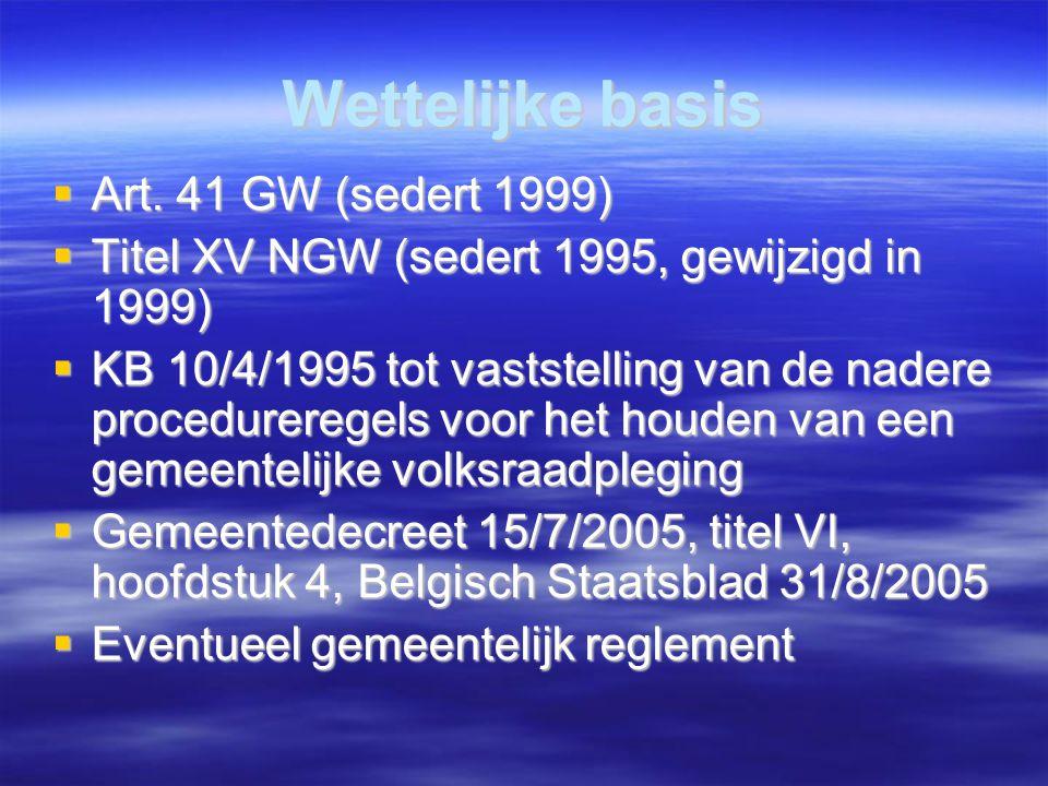 Wettelijke basis  Art. 41 GW (sedert 1999)  Titel XV NGW (sedert 1995, gewijzigd in 1999)  KB 10/4/1995 tot vaststelling van de nadere procedurer