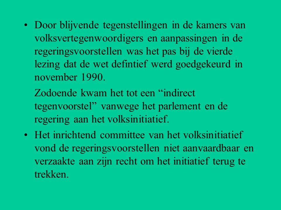 Door blijvende tegenstellingen in de kamers van volksvertegenwoordigers en aanpassingen in de regeringsvoorstellen was het pas bij de vierde lezing dat de wet defintief werd goedgekeurd in november 1990.