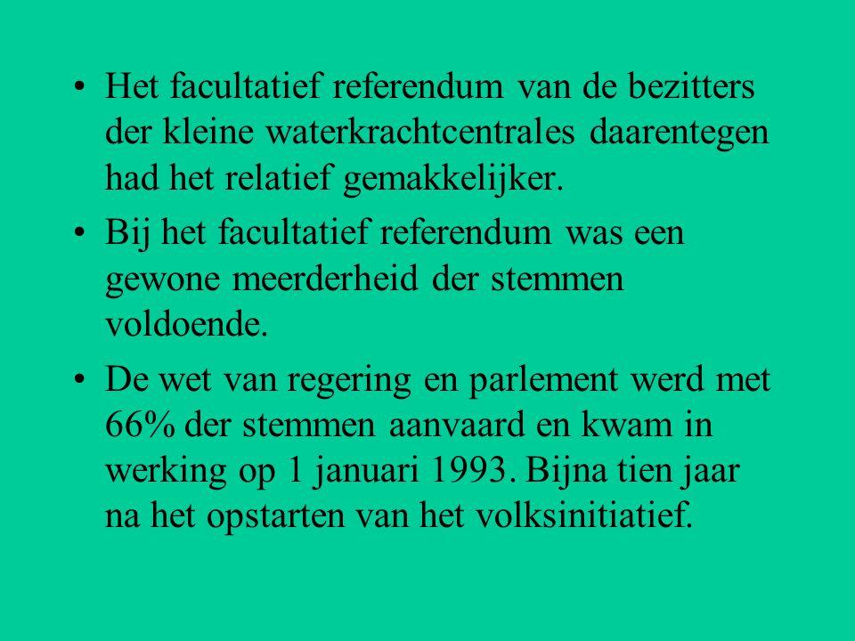 Het facultatief referendum van de bezitters der kleine waterkrachtcentrales daarentegen had het relatief gemakkelijker.