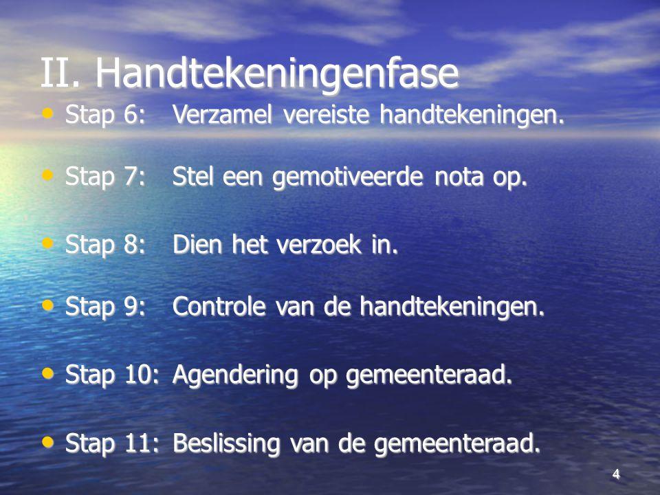 4 II. Handtekeningenfase Stap 6: Verzamel vereiste handtekeningen.