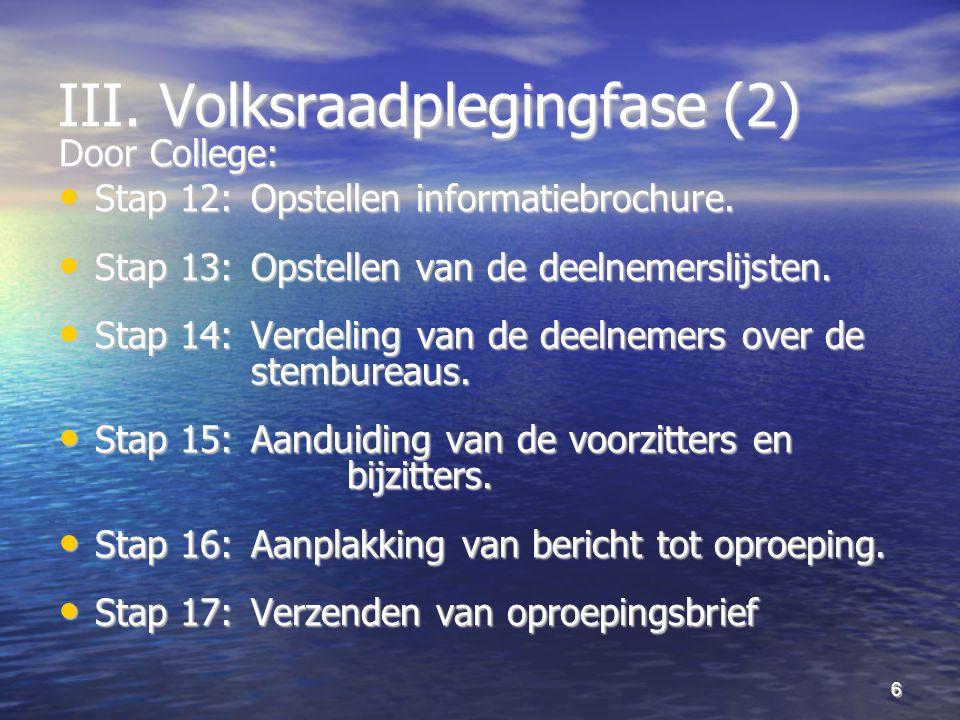 6 III. Volksraadplegingfase (2) Door College: Stap 12:Opstellen informatiebrochure.