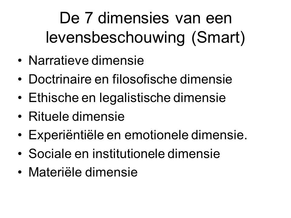 De 7 dimensies van een levensbeschouwing (Smart) Narratieve dimensie Doctrinaire en filosofische dimensie Ethische en legalistische dimensie Rituele dimensie Experiëntiële en emotionele dimensie.