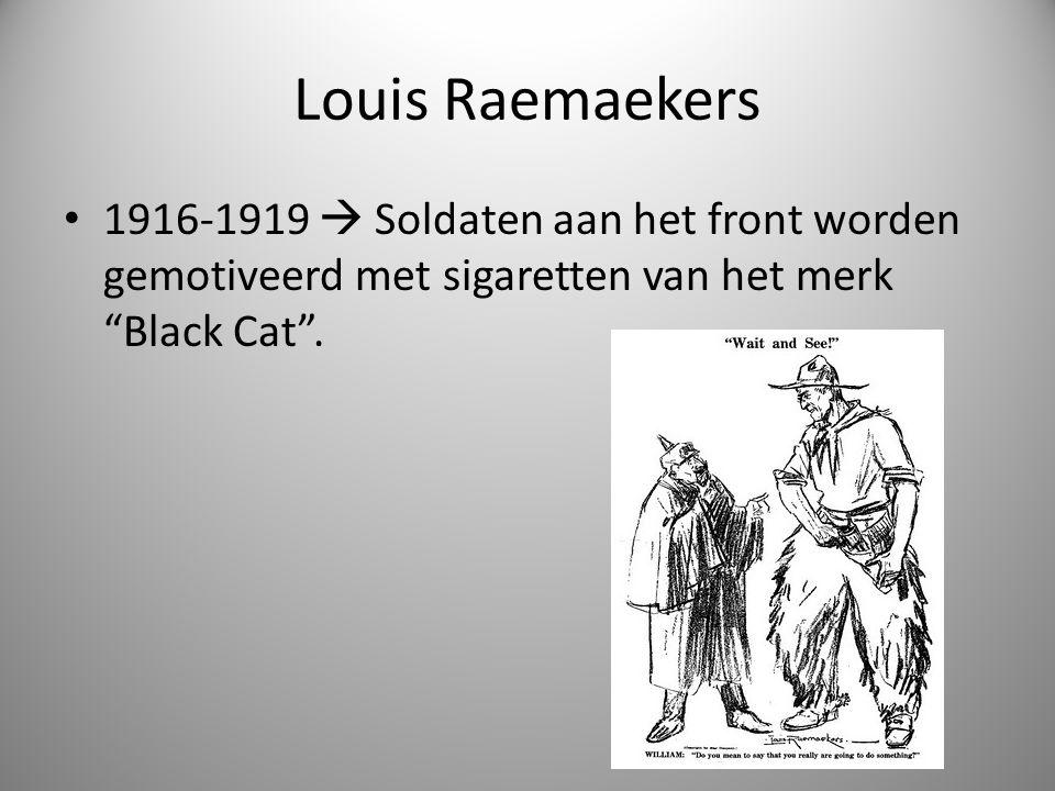 """Louis Raemaekers 1916-1919  Soldaten aan het front worden gemotiveerd met sigaretten van het merk """"Black Cat""""."""
