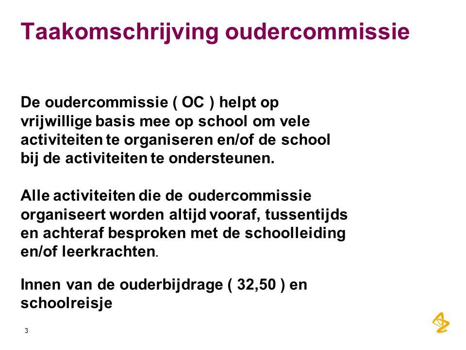 Taakomschrijving oudercommissie De oudercommissie ( OC ) helpt op vrijwillige basis mee op school om vele activiteiten te organiseren en/of de school bij de activiteiten te ondersteunen.