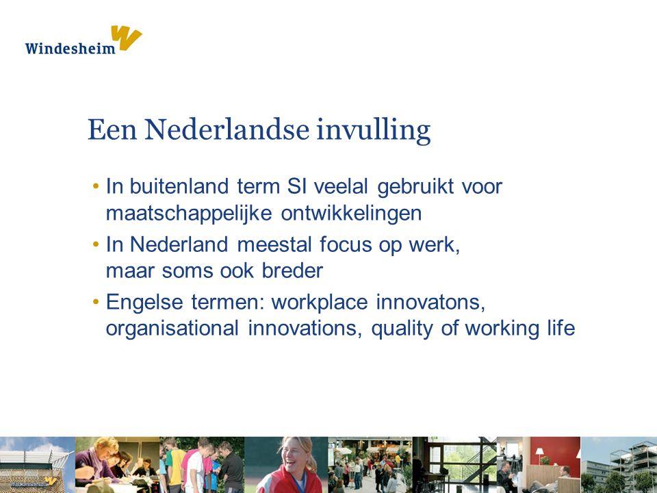 Een Nederlandse invulling In buitenland term SI veelal gebruikt voor maatschappelijke ontwikkelingen In Nederland meestal focus op werk, maar soms ook breder Engelse termen: workplace innovatons, organisational innovations, quality of working life