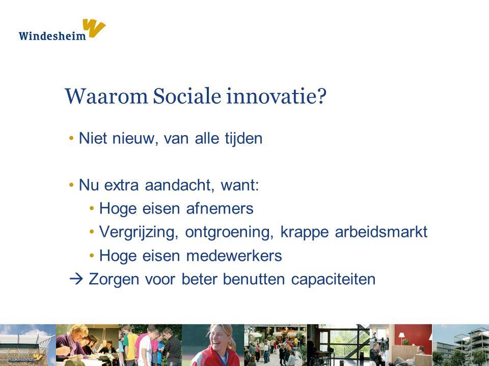 Waarom Sociale innovatie? Niet nieuw, van alle tijden Nu extra aandacht, want: Hoge eisen afnemers Vergrijzing, ontgroening, krappe arbeidsmarkt Hoge