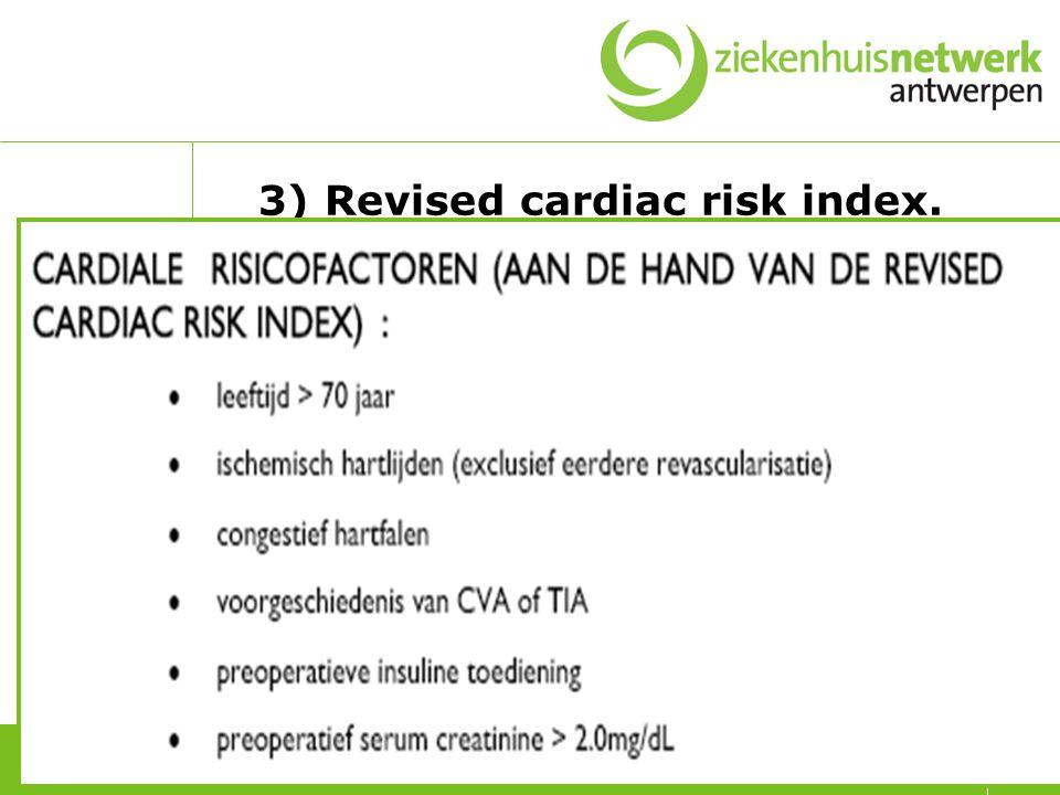 RCRI opmerkingen CABG/OPCAB/PCI brengt het risico terug tot op het risico op een ischemische hartziekte vóórdat het cardiovasculair event of de symptomatologie die aanleiding gaf tot de revascularisatie zich voordeed, indien minstens 3-6 weken voor de operatie.