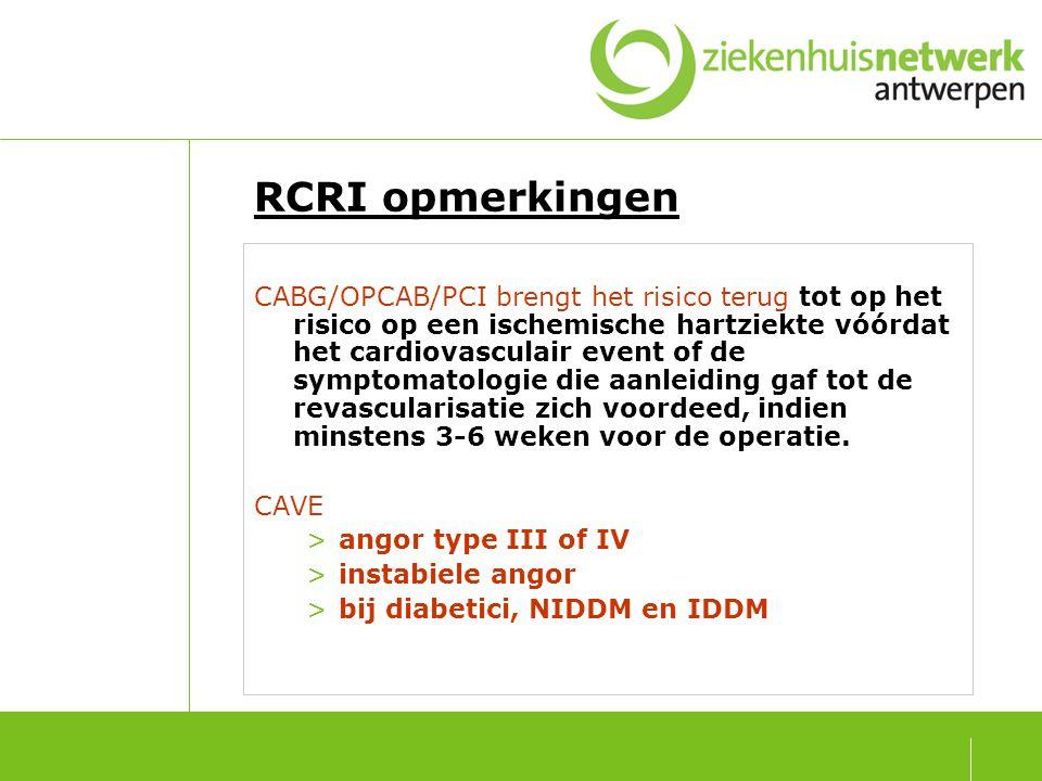 RCRI = 1 of meer β -blokkers behalve bij contra-indicaties De doeltreffendheid van β-blokkers is voldoende bewezen doch de nodige omzichtigheid en ervaring is geboden bij de toediening, zeker in geval van symptomatische congestieve hartdecompensatie.