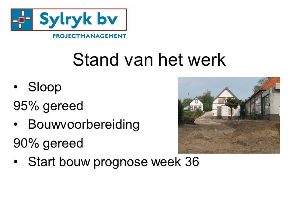 Stand van het werk Sloop 95% gereed Bouwvoorbereiding 90% gereed Start bouw prognose week 36