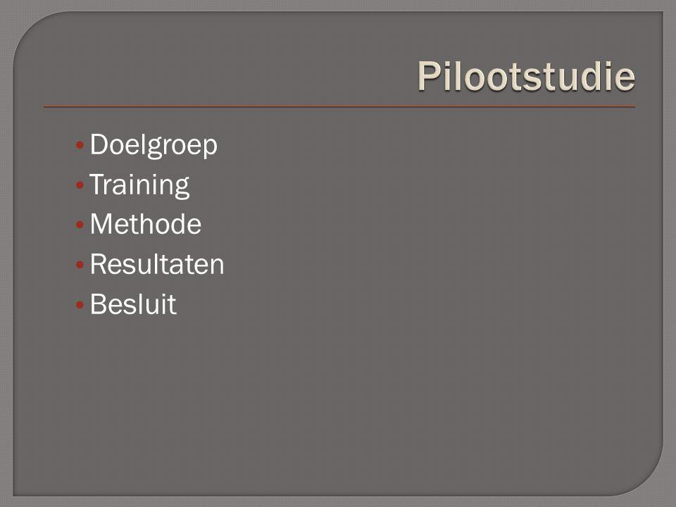 Doelgroep Training Methode Resultaten Besluit