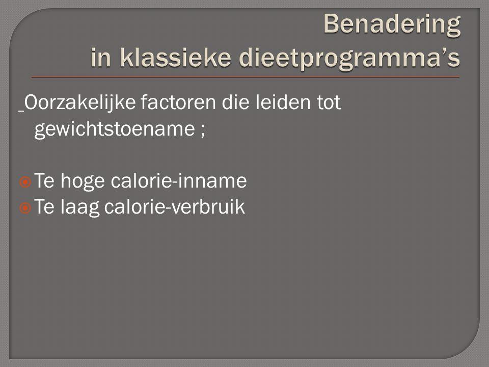 Oorzakelijke factoren die leiden tot gewichtstoename ;  Te hoge calorie-inname  Te laag calorie-verbruik