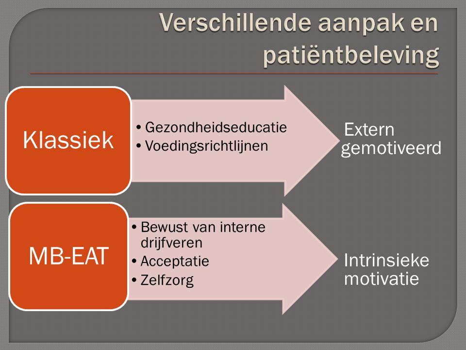 Extern gemotiveerd Intrinsieke motivatie Gezondheidseducatie Voedingsrichtlijnen Klassiek Bewust van interne drijfveren Acceptatie Zelfzorg MB-EAT