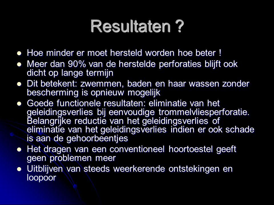Resultaten ? Hoe minder er moet hersteld worden hoe beter ! Hoe minder er moet hersteld worden hoe beter ! Meer dan 90% van de herstelde perforaties b