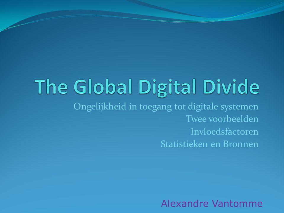 Ongelijkheid in toegang tot digitale systemen Twee voorbeelden Invloedsfactoren Statistieken en Bronnen Alexandre Vantomme
