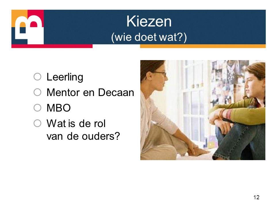 Kiezen (wie doet wat?)  Leerling  Mentor en Decaan  MBO  Wat is de rol van de ouders? 12