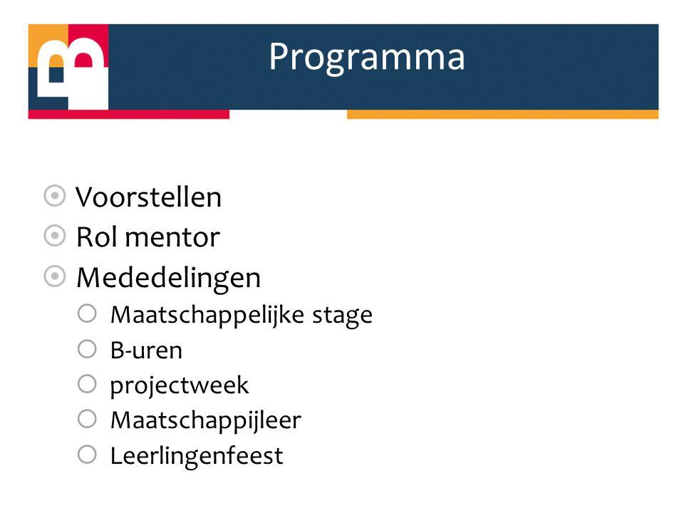 Programma  Voorstellen  Rol mentor  Mededelingen  Maatschappelijke stage  B-uren  projectweek  Maatschappijleer  Leerlingenfeest