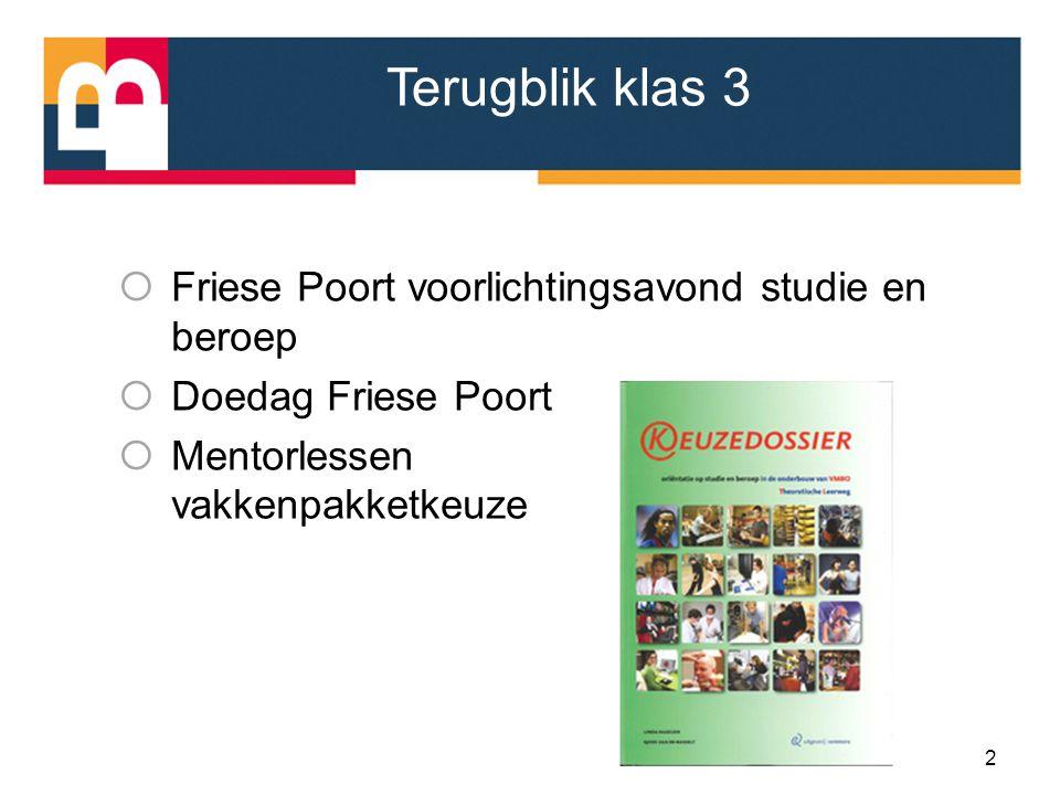 Terugblik klas 3  Friese Poort voorlichtingsavond studie en beroep  Doedag Friese Poort  Mentorlessen vakkenpakketkeuze 2