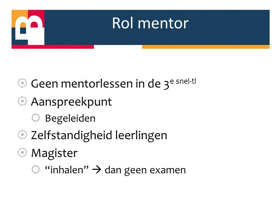 """Rol mentor  Geen mentorlessen in de 3 e snel-tl  Aanspreekpunt  Begeleiden  Zelfstandigheid leerlingen  Magister  """"inhalen""""  dan geen examen"""