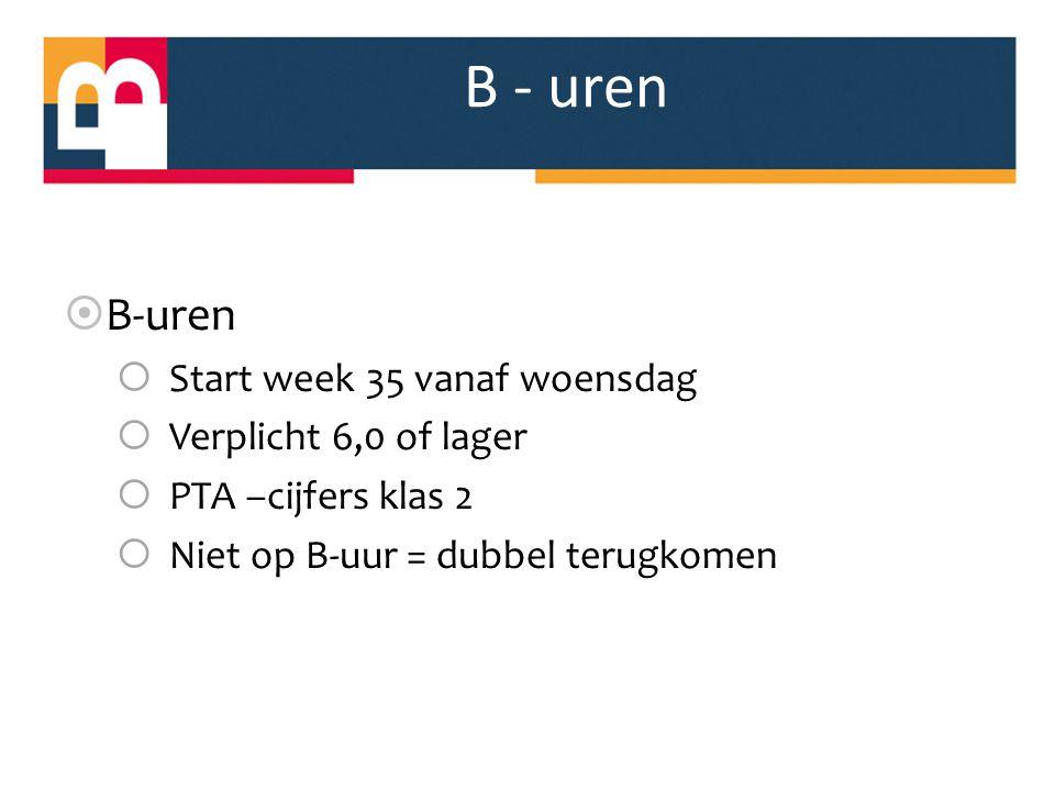 B - uren  B-uren  Start week 35 vanaf woensdag  Verplicht 6,0 of lager  PTA –cijfers klas 2  Niet op B-uur = dubbel terugkomen