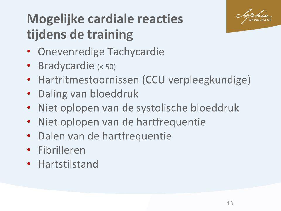 Mogelijke cardiale reacties tijdens de training Onevenredige Tachycardie Bradycardie (< 50) Hartritmestoornissen (CCU verpleegkundige) Daling van bloe