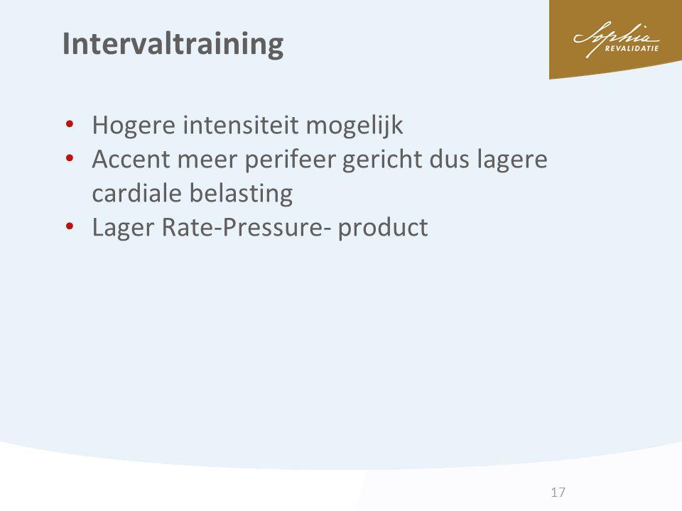 Intervaltraining Hogere intensiteit mogelijk Accent meer perifeer gericht dus lagere cardiale belasting Lager Rate-Pressure- product 17