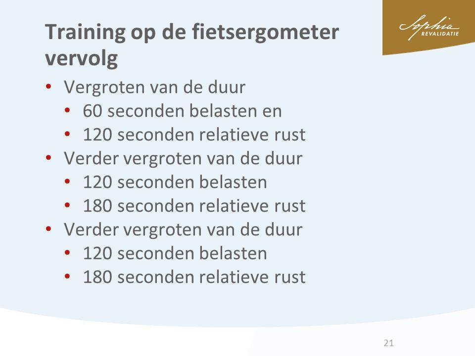 Training op de fietsergometer vervolg Vergroten van de duur 60 seconden belasten en 120 seconden relatieve rust Verder vergroten van de duur 120 secon